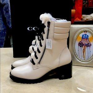 COACH JENNA LUG SOLE WHITE LEATHER BOOTS